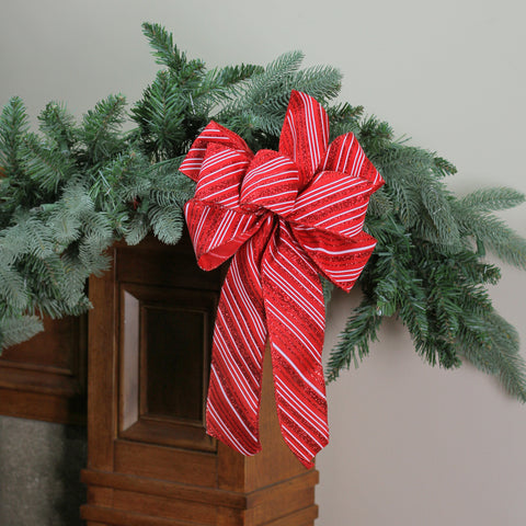 "8"" x 16"" Red and White Candy Cane Glitter Stripe 6 Loop Christmas Bow Decoration"