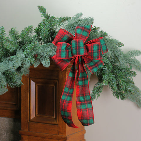 "8"" x 16"" Red and Green Plaid 6 Loop Wool Christmas Bow Decoration"