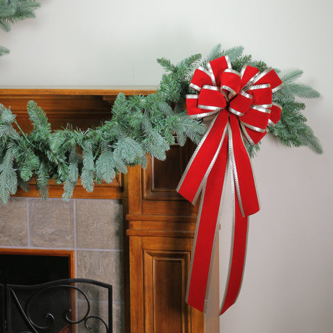 "29.5"" Red Velveteen with Gold Edge Trim 10 Loop Christmas Bow Decoration"