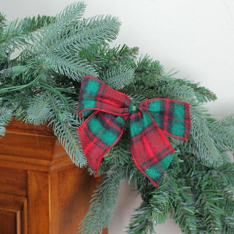Pack of 6 Red and Green Plaid Wool Mini Christmas Bow Decorations 5""