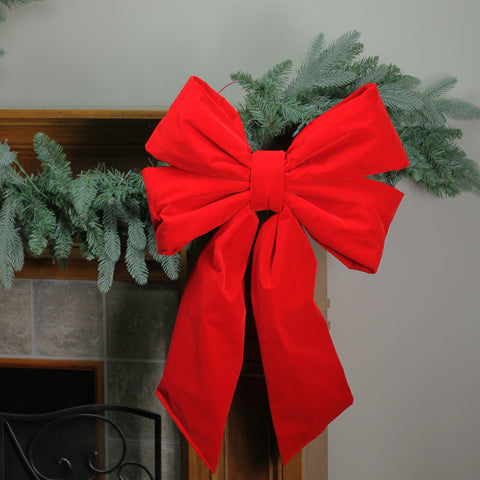 "18"" x 26"" Commercial Structural 4-Loop Red Outdoor Christmas Bow Decoration"