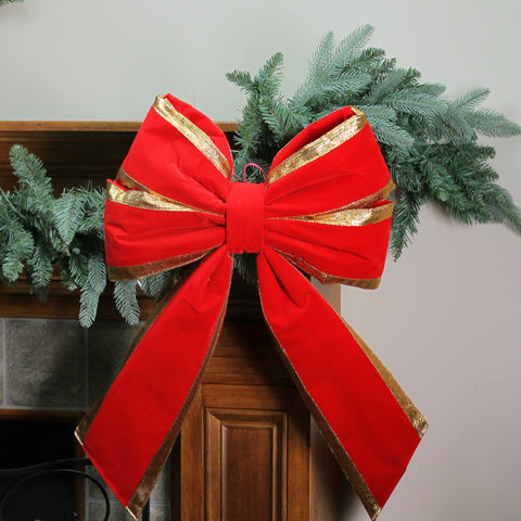 "18"" x 24"" Commercial Structural 4-Loop Red and Gold Outdoor Christmas Bow"