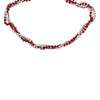 8' Shiny Metallic Red, White and Silver Twisted Bead Christmas Garland