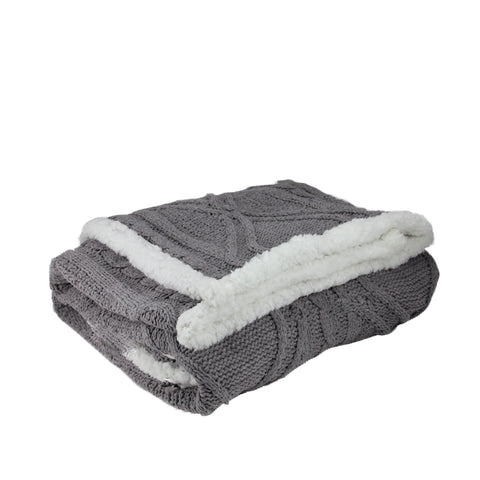 "Gray and White Cable Knit Plush Sherpa Throw Blanket 50"" x 60"""