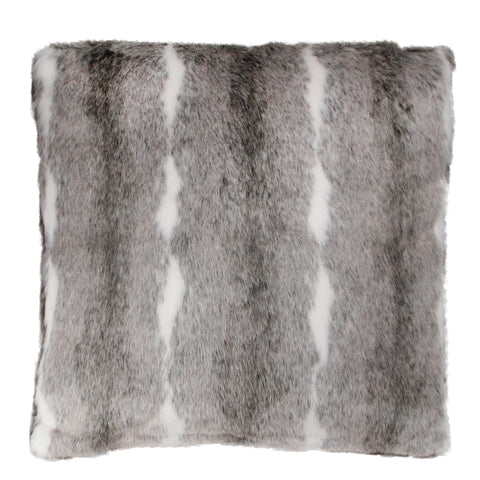 "18"" Gray and White Contemporary Square Throw Pillow"
