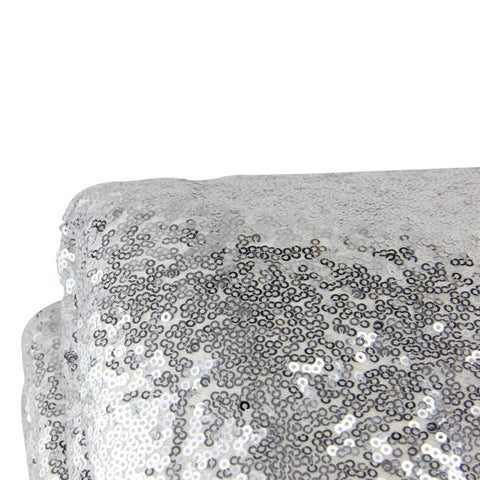 "Silver Paillette Sequins Throw Blanket with White Fur Trim 49"" x 67"""
