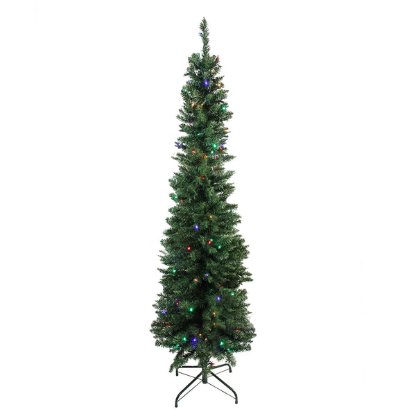 "6' x 21"" Pre-Lit Northern Balsam Fir Pencil Artificial Christmas Tree - Multi LED Lights"