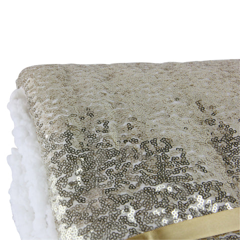 "Shimmering Gold Colored and White Sequined Decorative Throw Blanket 49"" x 67"""