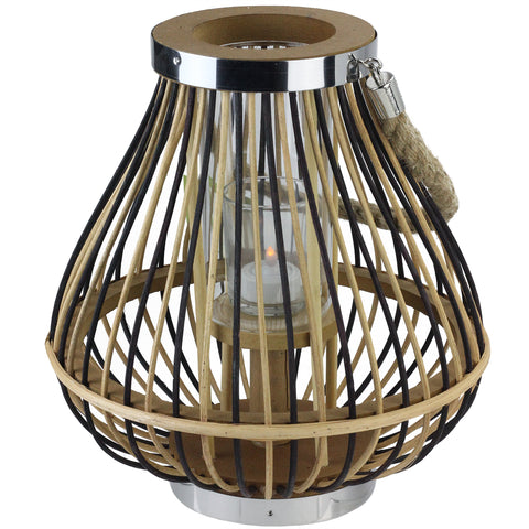 "11"" Rustic Chic Pear Shaped Rattan Candle Holder Lantern with Jute Handle"