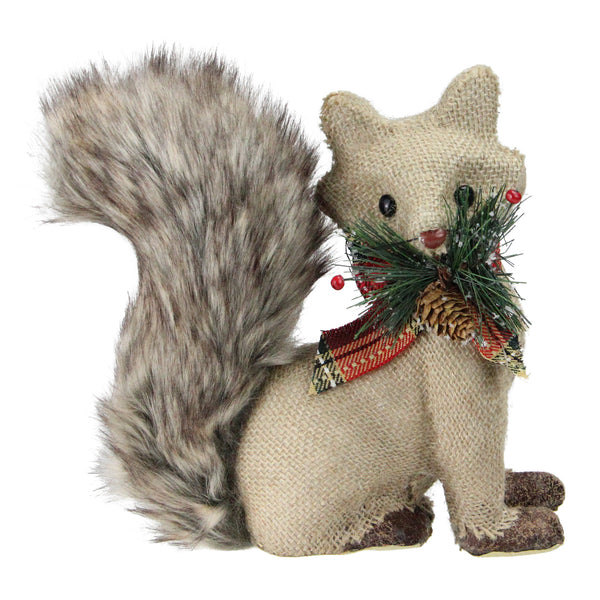"8"" Holiday Moments Burlap Fox with Fuzzy Tail and Plaid Bow Decorative Christmas Figure"