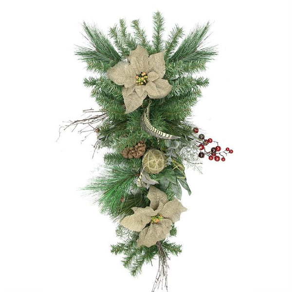 "28"" Mixed Pine Berry and Burlap Poinsettia Artificial Christmas Teardrop Swag - Unlit"