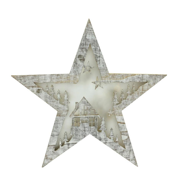 "11"" Silver Rustic LED Lighted Star Christmas Decor"