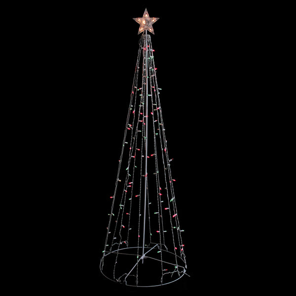 6' Red and Green Lighted Show Cone Christmas Tree Outdoor Decoration