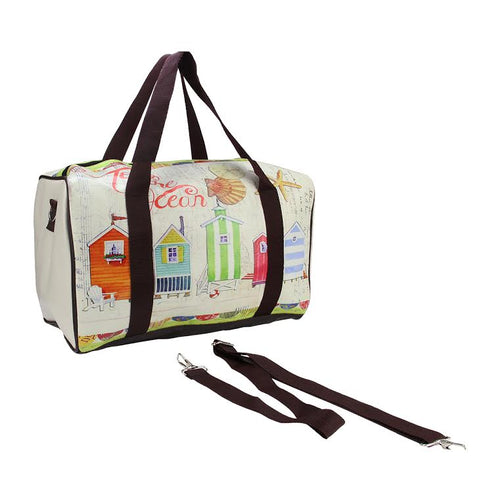 "16"" Vintage-Style Beach House Theme Travel Bag with Handles and Crossbody Strap"