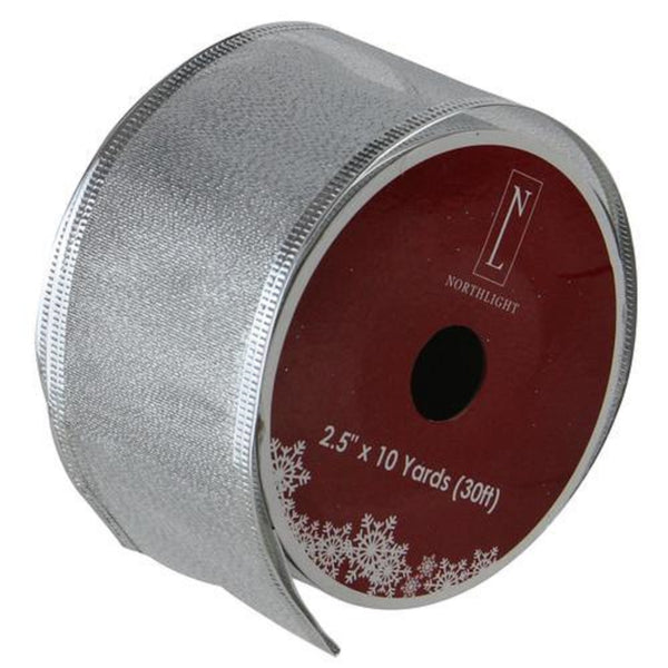 "Textured Silver Christmas Wired Craft Ribbon 2.5"" x 10 Yards"