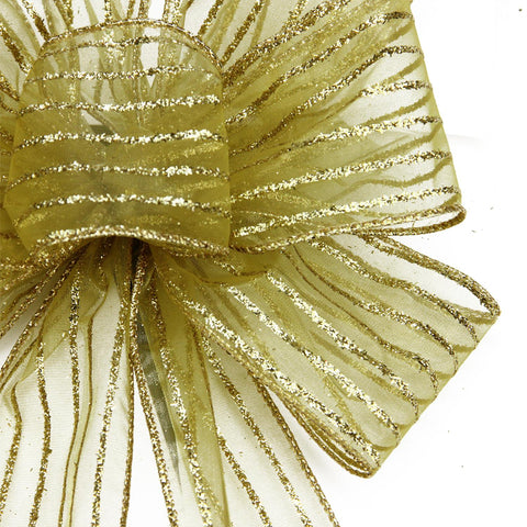 "8"" x 16"" Sheer Gold with Gold Glitter Stripes 6 Loop Christmas Bow Decoration"