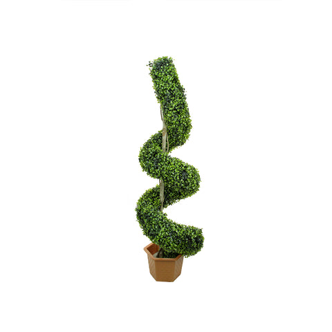 "56"" Potted Two-Tone Artificial Boxwood Spiral Topiary Tree - Unlit"