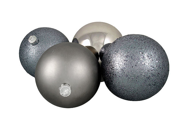 "4ct Pewter Gray Shatterproof 4-Finish Christmas Ball Ornaments 6"" (150mm)"