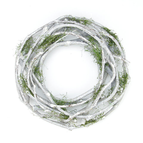 "11"" White Twig and Green Moss Artificial Spring Wreath - Unlit"
