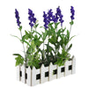 "11.75"" Artificial Flowering Lavender Plant in White Picket Fence Container"