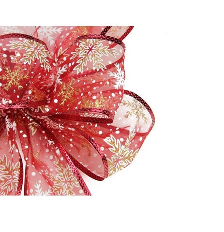 "8"" x 16"" Sheer Red, White and Gold Snowflakes 6 Loop Christmas Bow Decoration"