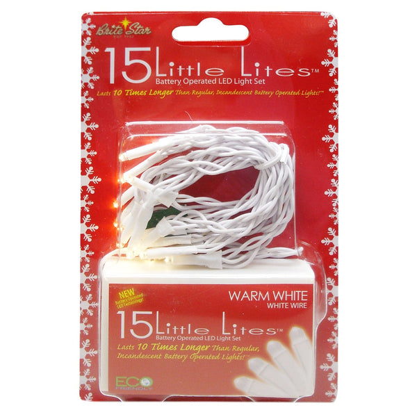 15 Battery Operated White LED Christmas Lights - 5 ft White Wire