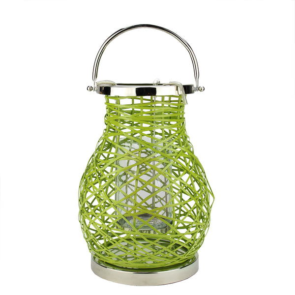 "13.5"" Modern Green Decorative Woven Iron Pillar Candle Lantern with Glass Hurricane"