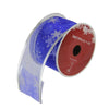 "Blue and Silver Glitter Snowflakes Christmas Wired Craft Ribbon 2.5"" x 10 Yards"