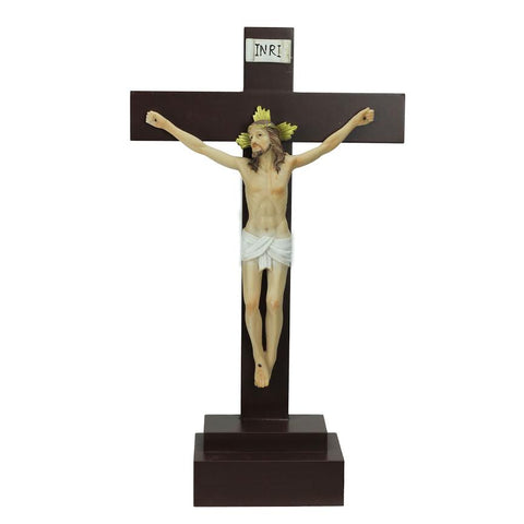 "14.5"" Religious Inspirational ""INRI"" Jesus on Crucifix Christmas Table Top Decoration"