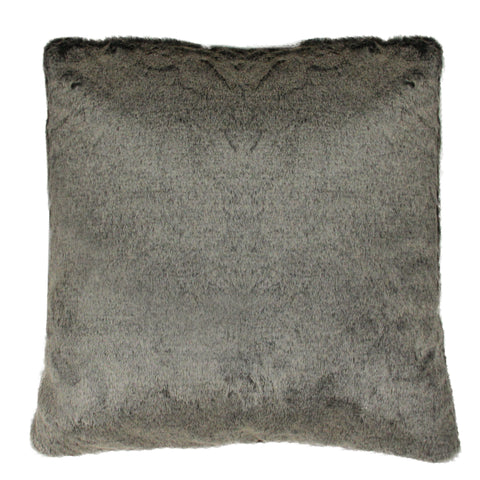 "18"" Brown Faux Fur Plush Indoor Square Throw Pillow"