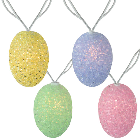 10 Spring Pastel Colored Easter Egg String Lights - 7.25ft White Wire