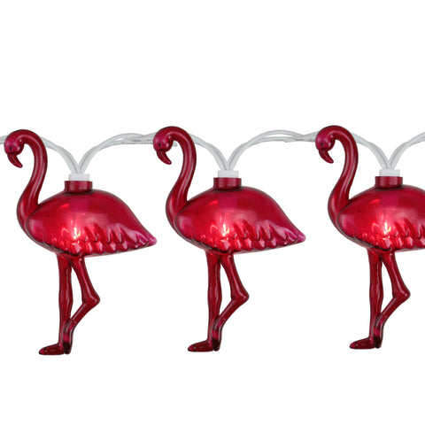 10-Count Pink Flamingo Summer Patio String Light Set, 7.25ft White Wire