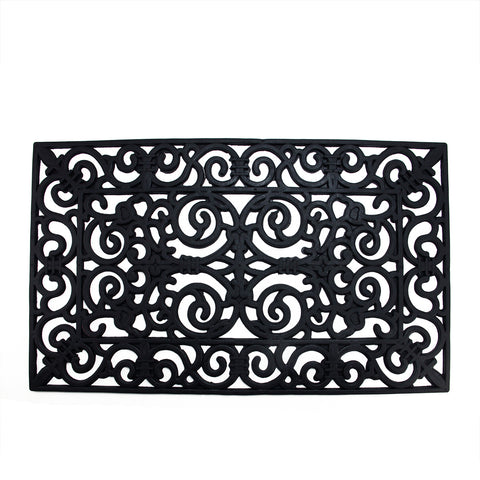 "Black Scroll Design with Open Back Rectangular Doormat 17"" x 29"""