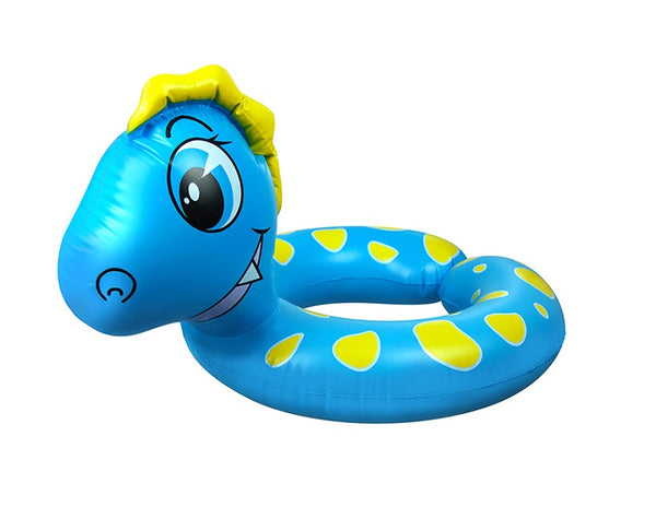 "24"" Inflatable Blue and Yellow Dragon Children's Swimming Pool Split Ring Inner Tube"