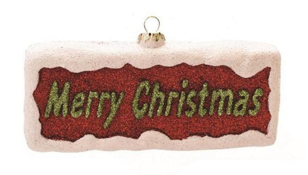 "5.5"" Red and Green Glittered 'Merry Christmas' Shatterproof Ornament"