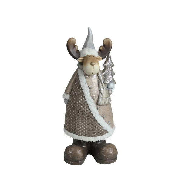 "15.75"" Brown and White Reindeer with Christmas Tree Tabletop Figurine"