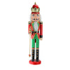 "24"" Red and Green Wooden Christmas Nutcracker King with Scepter"