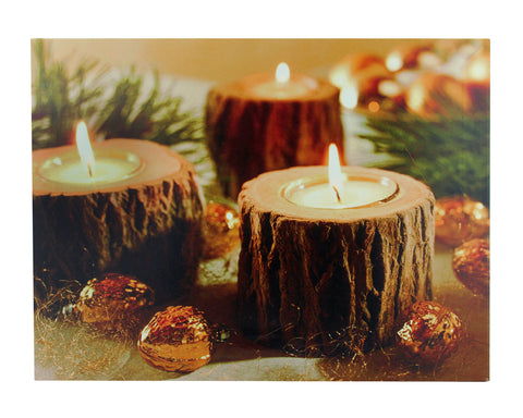 "15.75"" LED Flickering Rustic Lodge Woodland Candles Canvas Wall Art"