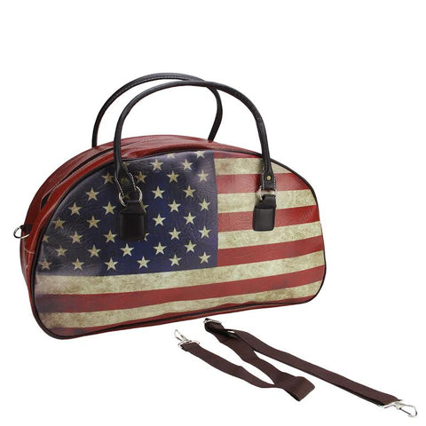 "20"" Decorative Vintage-Style American Flag Travel Bag with Handles and Shoulder Strap"