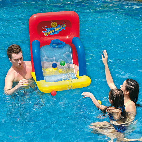 "34"" Inflatable Red and Yellow Swimming Pool Basketball Shooting Game"