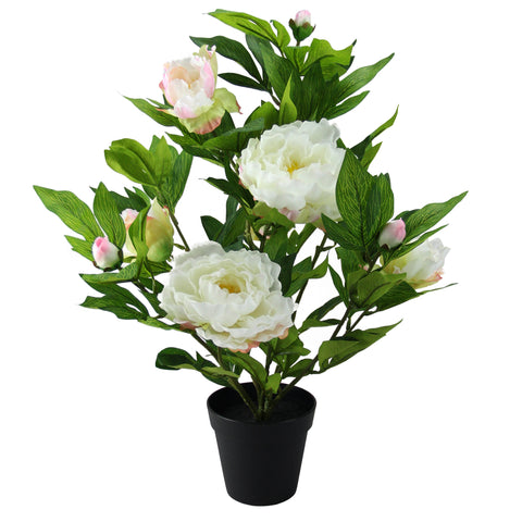 "17.25"" Green and White Potted Artificial Blooming Peony Flower Plant"