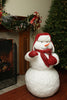 "42"" White and Red Fluffy Sparkling Glittered Plush Christmas Snowman Figurine"