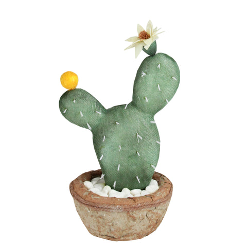 "12"" Southwestern Style Green Potted Artificial Cactus with Flower"
