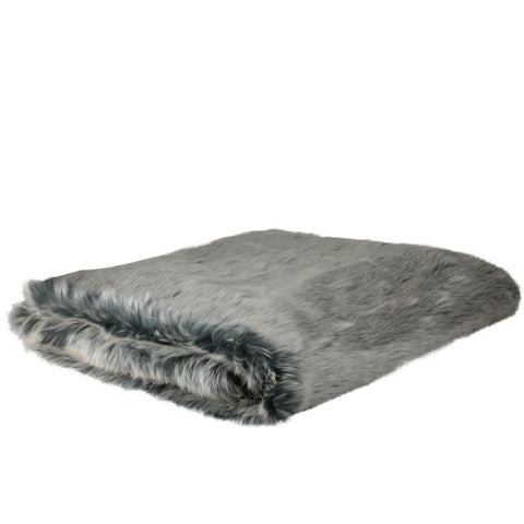 "White and Gray Faux Fur Super Plush Throw Blanket 50"" x 60"""