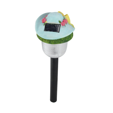 "17"" LED Lighted Solar Powered Outdoor Blue Rose Hat Garden Light"