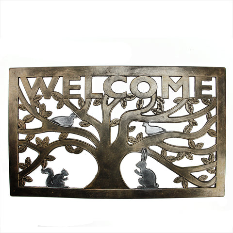 "Bronze Tree with Animals ""WELCOME"" Rectangular Doormat 30"" x 18"""