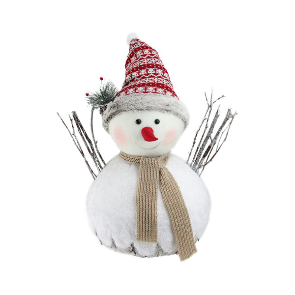 "16"" White and Red Snowman Christmas Tabletop Decor"