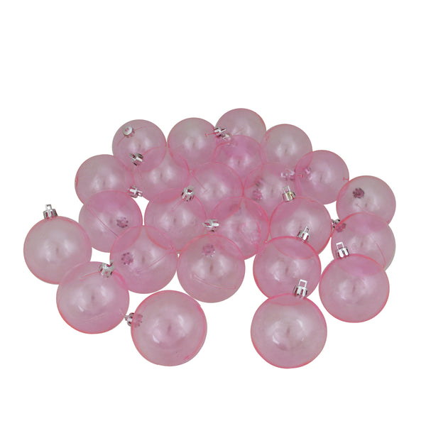 "24ct Pink Transparent Shatterproof Christmas Ball Ornaments 2.5"" (60mm)"