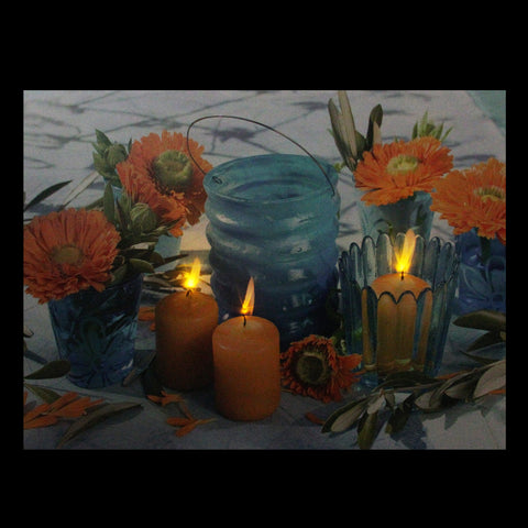 "15.75"" LED Flickering Candles and Flowers Glass Candles Canvas Wall Art"