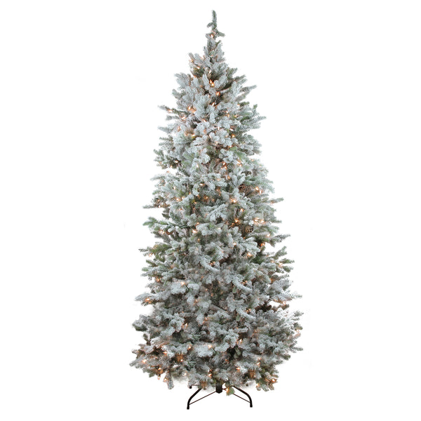 7.5' Pre-Lit Flocked Slim Colorado Spruce Artificial Christmas Tree - Clear Dura-Lit Lights